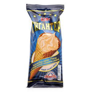 Мороженое крем-брюле в вафельном сахарном рожке ТМ Гигантер