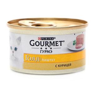 Корм Gourmet Gold консервированный полнорационный для взрослых кошек паштет с курицей