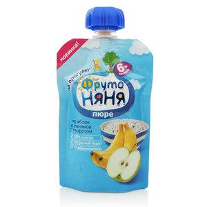 Пюре из яблок и бананов с творогом для питания детей с 6-и месяцев ТМ ФрутоНяня