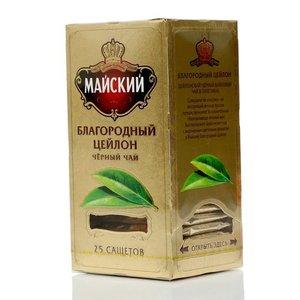 Чай черный байховый цейлонский ТМ Майский, 25 пакетиков