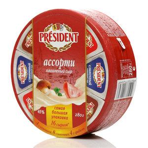 Сыр плавленый ассорти: сливочный, с ветчиной, с грибами ТМ President (Президент) 45%