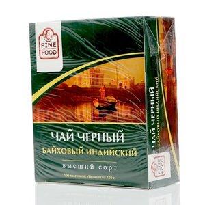 Чай черный байховый Индийский ТМ Fine Food (Файн Фуд), 100 пакетиков