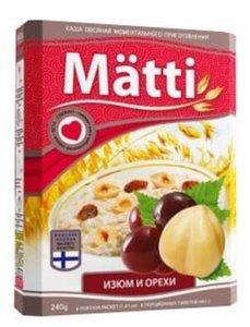 Каша овсяная ТМ Matti (Матти)  с изюмом и орехами моментального приготовления