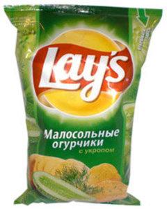 Чипсы из натурального картофеля со вкусом малосольных огурчиков с укропом ТМ Lay's (Лэйс)