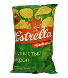 Чипсы рифленые со вкусом укропа ТМ Estrella (Эстрелла)