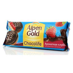 Печенье бисквитное ТМ Alpen Gold Chocolife с клубничным желе, покрытое шоколадом