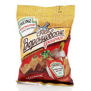 Сухарики со вкусом чеснока, соус внутри ТМ Воронцовские