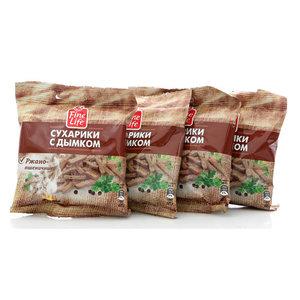 Сухарики ржано-пшеничные с дымком ТМ Fine Life (Файн Лайф) 4*40г