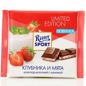 Шоколад молочный с клубнично-мятной начинкой тм Ritter Sport (Риттер спорт)