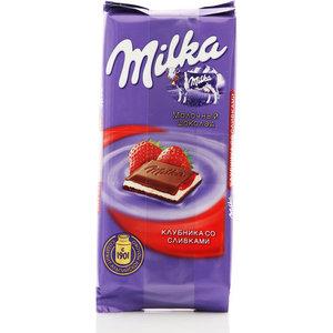 Шоколад молочный с начинкой клубника и сливки 5*90г ТМ Milka (Милка)