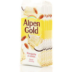 Шоколад белый с миндалем и кокосовой стружкой ТМ Alpen Gold (Альпен Гольд) 5*90г