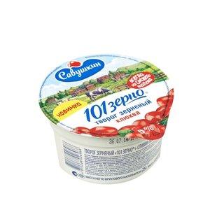 Творог зерненый 101 зерно с клюквой 5% ТМ Савушкин