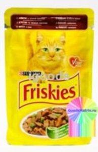 Корм полнорационный для взрослых кошек с мясом и зеленой фасолью; кусочки в подливке ТМ Friskies (Фрискис)