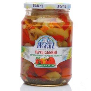 Перец сладкий маринованный с зеленью и чесноком ТМ  Меленъ Домашние рецепты