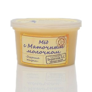 Мед натуральный цветочный полифлорный с пчелиным маточным молочком Энергия жизни ТМ Берестов А.С.