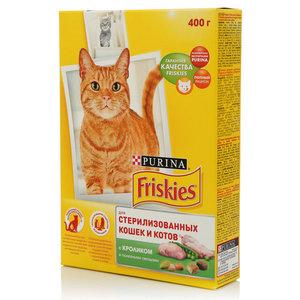 Корм сухой полнорационный для стерилизованных кошек и котов, с кроликом и полезными овощами ТМ Friskies (Фрискис)