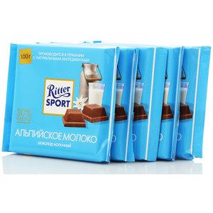 Шоколад молочный с альпийским молоком 5*100г ТМ Ritter Sport (Риттер спорт)