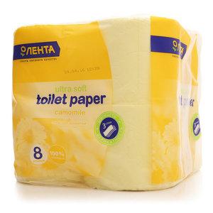 Туалетная бумага 3-слойная ТМ Лента, 8 штук