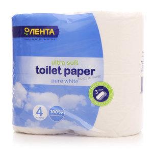 Туалетная бумага 3-слойная ТМ Лента, 4 шт