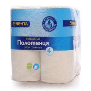 Полотенца бумажные двухслойные ТМ Лента, 4 рулона