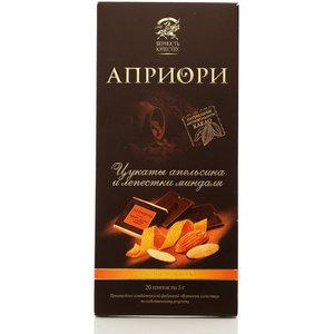 Горький шоколад Априори ТМ Верность качеству  65% какао с цукатами апельсина и лепестками миндаля