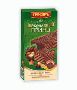 Торт вафельный в шоколадной глазури с фундуком Шоколадный Принц ТМ Пекарь