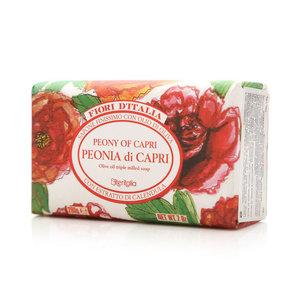 Мыло натуральное косметическое с оливковым маслом, аромат пионы капри ТМ Iteritalia (Итериталиа)