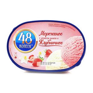 Мороженое с ароматом ванили и клубничное ТМ 48 копеек