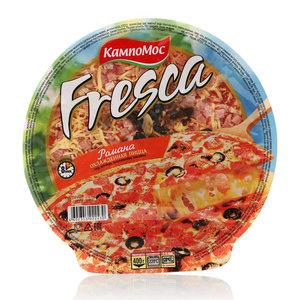 Пицца с сыром, ветчиной, шампиньонами и маслинами Романа охлажденная ТМ КампоМос