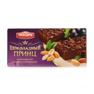 Торт вафельный Шоколадный принц с арахисом и изюмом  ТМ Пекарь