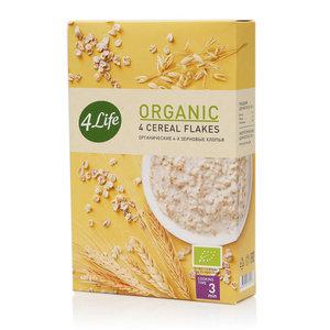 Хлопья органические 4-х зерновые моментального приготовления ТМ 4 Life (Фор Лайф)