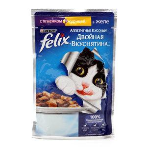 Корм для кошек двойная вкуснятина ягненок/курица в желе ТМ Felix (Феликс)