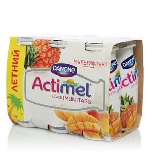 Напиток кисломолочный с мультифруктовым вкусом 2,5% ТМ Actimel (Актимель), 6*100 мл