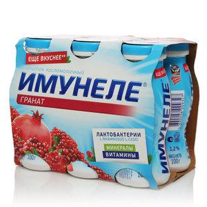Напиток кисломолочный с соком граната 1,2% ТМ Имунеле, 6*100 мл