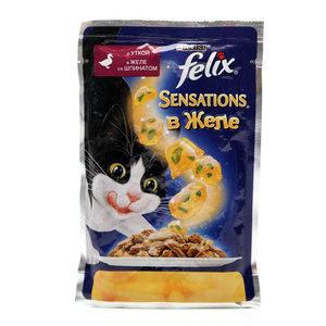 Корм для кошек Sensation в желе с уткой и шпинатом ТМ Felix (Феликс)