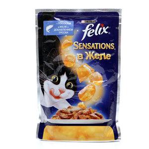 Корм для кошек Felix Sensations с лососем в желе со вкусом трески ТМ Purina (Пурина)