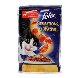Корм полнорационный для взрослых кошек, с говядиной в желе с томатами ТМ Felix Sensations (Феликс)