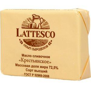 Масло сливочное Крестьянское 72,5% в/с ТМ Lattesco (Латтеско)
