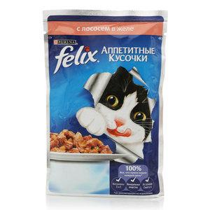 Корм полнорационный для взрослых кошек, с лососем ТМ Felix (Феликс)